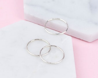 Sterling Silver Dainty Hammered Stacking Rings