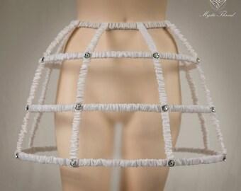 Crinoline cage skirt dressed with ruffle nude taffeta and decorated with white preciosa crystal gems-gothic crinoline-victorian crinoline
