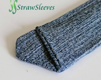 Denim Straw Sleeve - made of reclaimed Denim (Cotton blends) Take along your reusable straw.