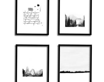 Gallery Wall Set : Black and White Wall Art Set of 4 Print Watercolor Set Art Print Set Modern Art Set Abstract Landscape Printable Art Set