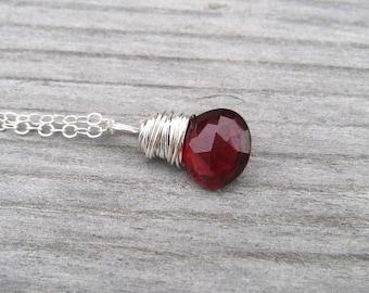 Garnet Necklace,  Sterling Silver Wire Wrapped Mozambique Garnet,  Burgandy Pendant,  January Birthstone,  Garnet Jewelry
