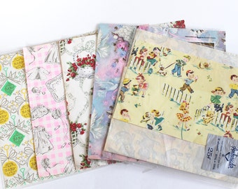 Vintage 1950s-60's Mixed Lot Birthday Wedding and Baby Shower Wrapping Paper!
