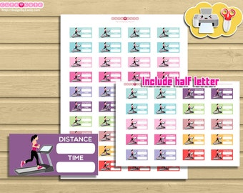 Treadmill Running challenge, Printable Planner stickers for 1,5 inches boxes. Gym stickers, Fitness stickers, Planner and organize stickers