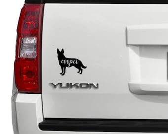 German Shepherd + NAME Decal / Dog Decal / Window Decals / Laptop Decals / Car Decals / Sticker / Vinyl Decal
