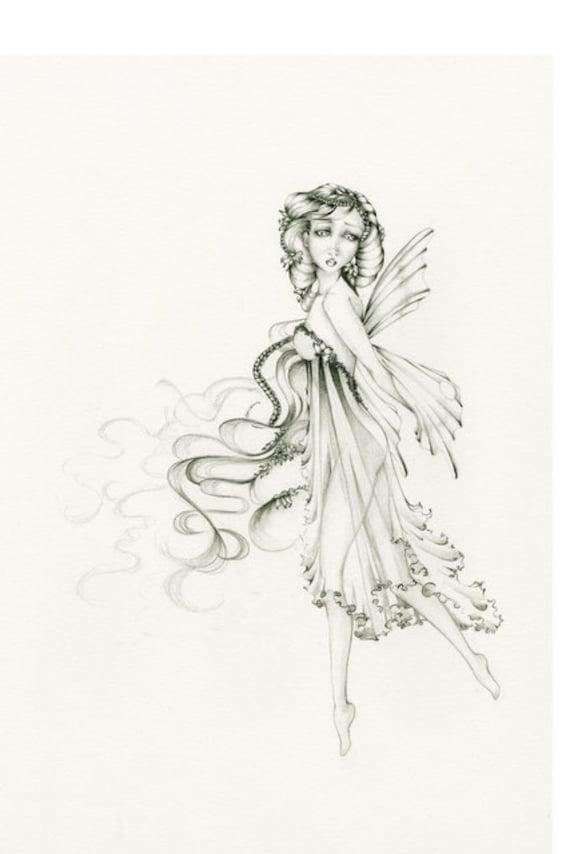 Items similar to Fairy Drawing Illustration OOAK Original