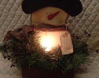 Primitive Wooden Snowman Electric Candle Box and Greenery and pip berries