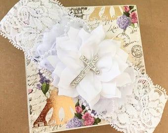 Baptism headband - Christening Headband - white - Cross Headband - Wide Lace
