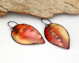 Nectarine Colors Enameled Art Earrings, Peach & Yellow Vitreous Enamel Copper Leaf Dangles, OOAK Original Art Earrings, Outstanding Gift