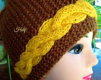Hat woman, twists, Brown, yellow, one size, creating Unique and original, hand made french HeyLaineInFrance, mat gold.