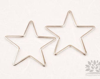 A349-02-R// Glossy Original Rhodium Plated Star Link, 4pcs