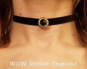 Black and gold button choker, velvet chokers, black velvet choker, button choker, button necklace, unique chokers