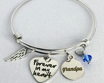 Forever in my Heart, GRANDPA Memorial Bracelet, Memorial Charm Bangle, Loss of Grandfather, Remembrance Jewelry, In Memory, Sympathy Gift