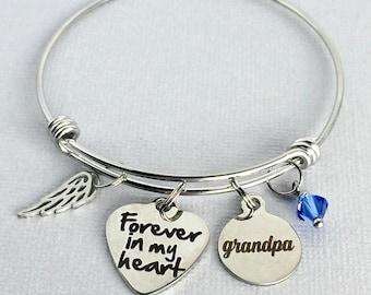 GRANDPA Memorial Bracelet, Forever in my Heart, Memorial Charm Bangle, Loss of Grandfather, In Memory of Grandpa,  Sympathy Gift