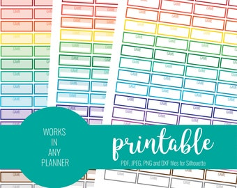 RAINBOW Game Stickers, Printable Game Stickers, Blank Game Stickers, Printable Planner Stickers, ECLP, MAMBI Stickers