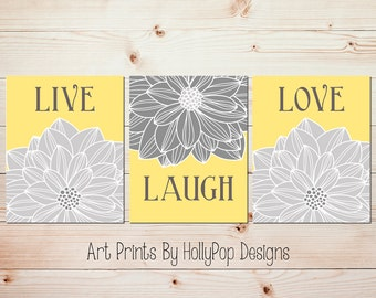 Yellow gray kitchen art prints Live laugh love Living room wall art Dahlia art Floral burst prints Floral prints Floral trio decor #1467
