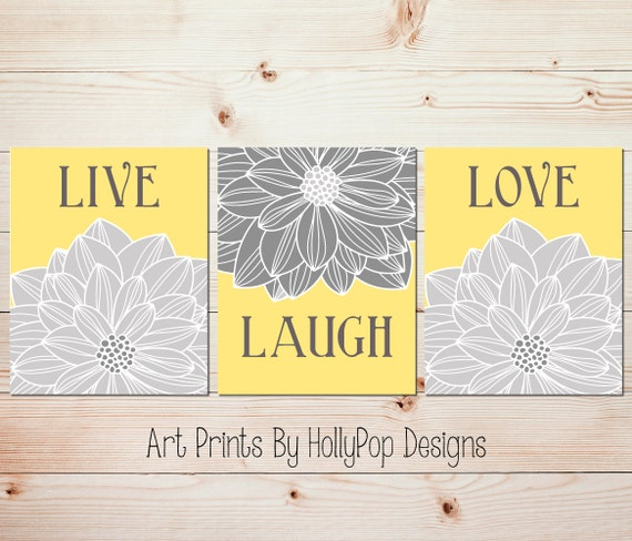 Yellow gray kitchen art prints Live laugh love Living room