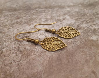 Bronze Leaf Earrings, Small Leaf Earrings, Autumn Leaf Earrings, Leaf Jewelry, Unique Gift for her, jingsbeadingworld inspired by nature
