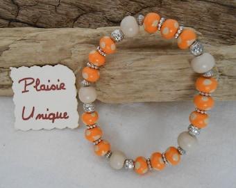 Bracelet Orange dots and Ecru