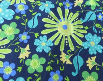 "71"" Long Bright and Bold Flower Power Design Cotton Fabric Fabric Traditions Navy Blue and Lime Green Turquoise and Yellow"