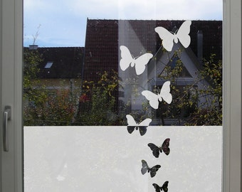 Window Privacy Decal Butterflies - Etched or Frosted Glass Privacy Film - Butterfly Glass Treatment, Customizable Privacy Film Kitchen