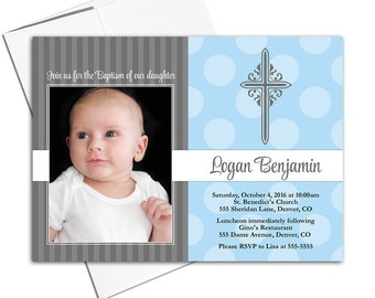 Baby Boy Christening Invite | Baptism Invitations, Blue and Gray, Photo Card, Cross, DIY Printable or Printed - WLP00202
