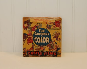 Vintage Castle Films Fun Cartoons in Color, Simple Simon (c. 1940's?) 8 mm Home Movie, Vintage Cartoon Movie, Collectible, Home Theater Fun