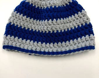 Adult Grey and Blue Warm Crochet Hat -S-M
