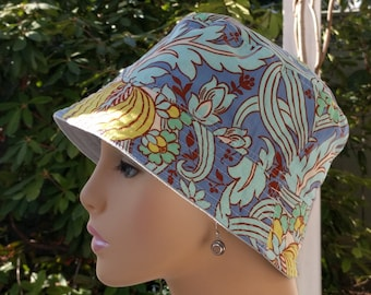 Women's Chemo Hats Caps for Hair Loss Shabby Chic Blue Reversible MEDIUM