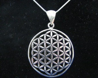Large Sterling Silver Flower of Life Pendant Necklace