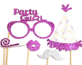 Photo Booth Props - Happy Birthday Mini Set - Party Girl Hot Pink 5PC