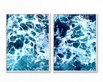 Set Of 2 Ocean Prints, Blue Wall Art, Coastal Wall Decor, Digital Print, Ocean, Turquoise Blue, Sea Prints, Water, Prints, Ocean Photography