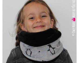 Snood enfant mixte garçon fille gris noir étoiles pingouin