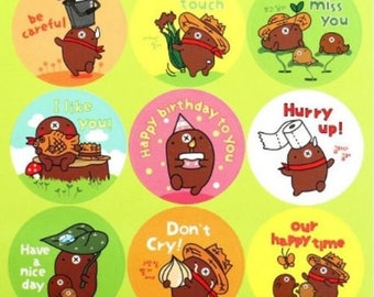 Stickers cute little bear with messages
