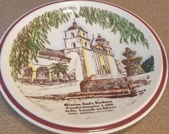 Vernon Kilns USA Mission Santa Barbara California Plate