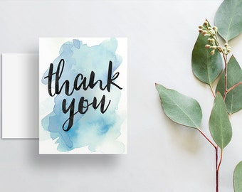 Watercolor Splash Thank You Cards / Bright Blue Watercolor / Brush Hand Lettering / Thank You Notes / Printed Folded Thank You Cards