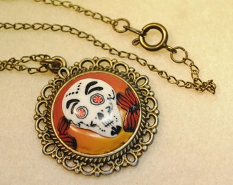 Skull pendant with Mexican inspired fimo, calavera, polymer clay necklace pendant