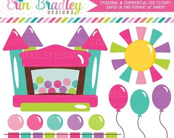 80% OFF SALE Bounce House Clipart Graphics Instant Download Bouncy Castle Digital Clip Art for Girls with Balloons Sun and Bunting
