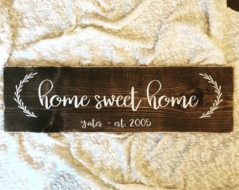 home sweet home est sign family name sign - rustic farmhouse handmade sign