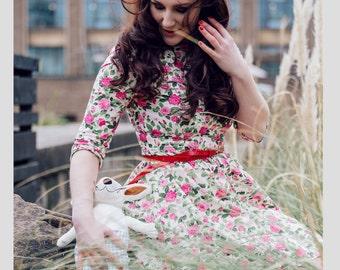 Floral dress, summer dress, flower dress, vintage style dress, mini-length dress, cotton dress, garden party dress, occasion wear, SS17