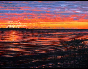 """Landscape Art Print - """"Red In The Morning"""", Limited Edition Giclee Print on Fine Art Paper of Great Lake shoreline, 7"""" x 9.2"""""""