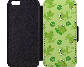 Frog Love Lily Pad Flower Pond Print Pattern Leather Flip Wallet Case Apple iPhone 5 5S SE 6 6S 7 7S 8 8S X Plus