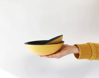 "6"" and 7"" Ebonized Oak Bowl by Willful 