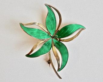 HROAR PRYDZ Sterling Silver Flower Brooch Green Lily Gold Overlay Vintage Scandinavian Jewelry Green Enamel Guilloche Norway Signed