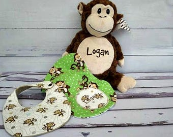 personalized baby gifts, embroidered baby bibs, personalized burpee, monogrammed, Baby Shower gift, monkey baby gift, embroidered burp cloth