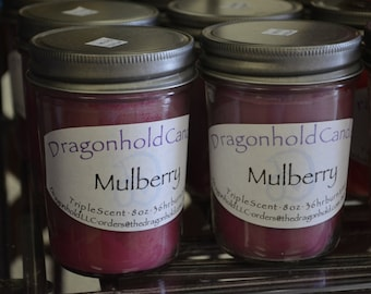 Mulberry Candle: Hand Poured, Triple Scented Soy-Paraffin Candle