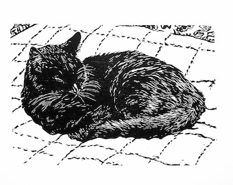 "Max, hand carved woodblock print, 9""x13"", limited edition of 100"