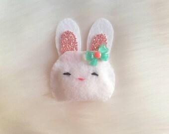 Easter bunny hair Clip, baby hair Clip, pet hair clip, felt bunny, glitter bunny hair Clip, white bunny hair Clip, cute chubby bunny clip