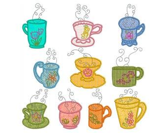 TEA TIME 2 - Machine Applique Embroidery - Instant Digital Download