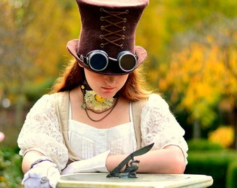 "Costume Hat. ""Brown"" Steampunk Hat. Mad Hatter Hat. Fantasy Hat. Cosplay Hat. LARP."