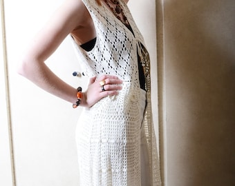 Vintage White Stage Full Length Crochet Vest